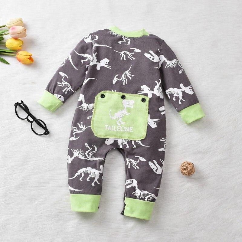 Baby Boys Long Sleeve Romper Camouflage Dinosaur Printed Bodysuit Jumpsuit 0-24M