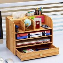 Large Multi Function DIY Desktop Storage Box Wooden Office Multi layer File Rack Supplies File Book Organizer Bookshelf