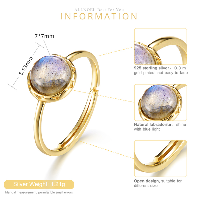 ALLNOEL 925 Sterling Silver Ring For Women 100% Natural Labradorite Gemstone 1.3ct Real Gold Wedding Engagement Fine Jewelry 2