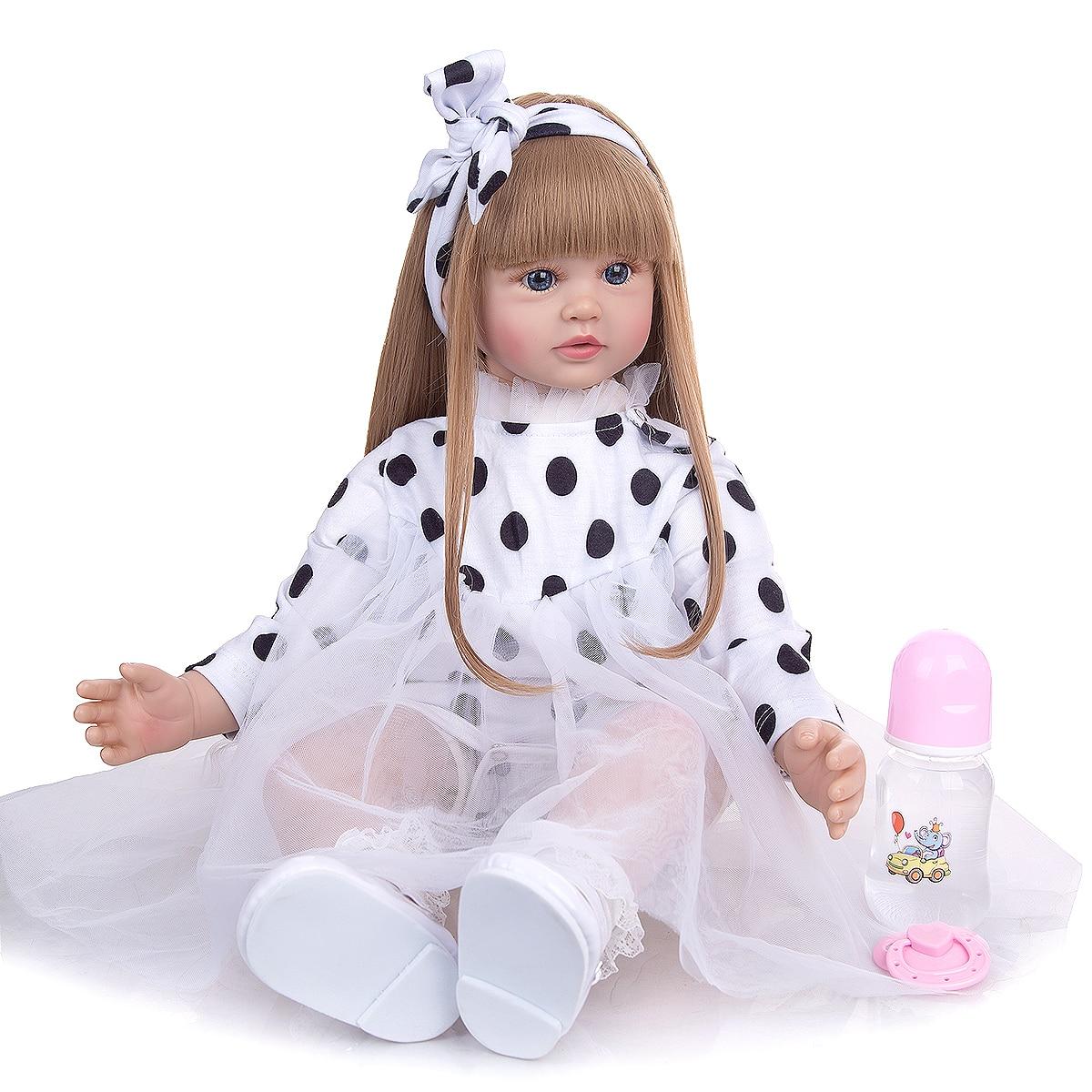 Кукла реборн KEIUMI классическая, мягкая силиконовая кукла принцесса с золотыми волосами, 60 см, детский подарок на день рождения