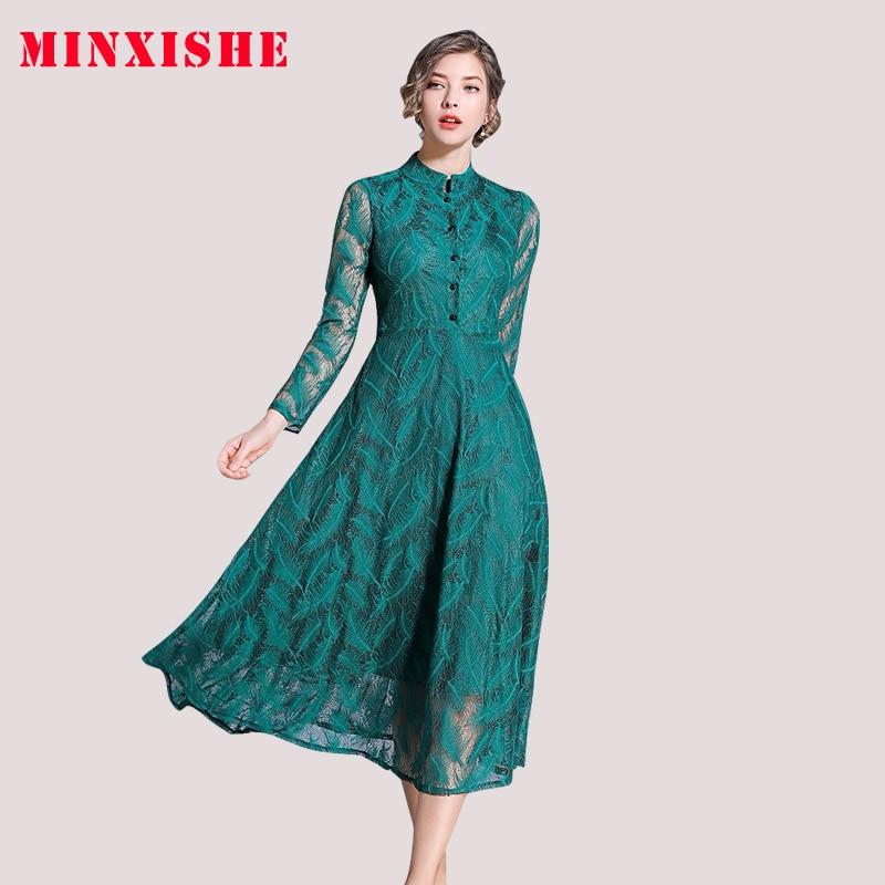 2019 automne femmes dentelle Vintage évider une ligne Robe vert simple boutonnage à manches longues robes mince soirée fête piste Robe