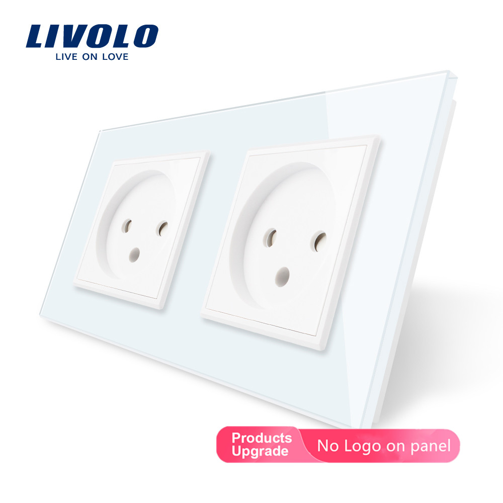 Livolo EU Standard Double Israel Power Socket, Glass Panel,AC 100~250V 16A Wall Power Socket,C7C2IL-11/12/13/15(4colors),no Logo