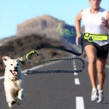 Dog Running Leash with Waist Pocket Hands Free Leashes Detachable Adjustable Belt Reflective Bungee Elasticity Belt Dog Leash