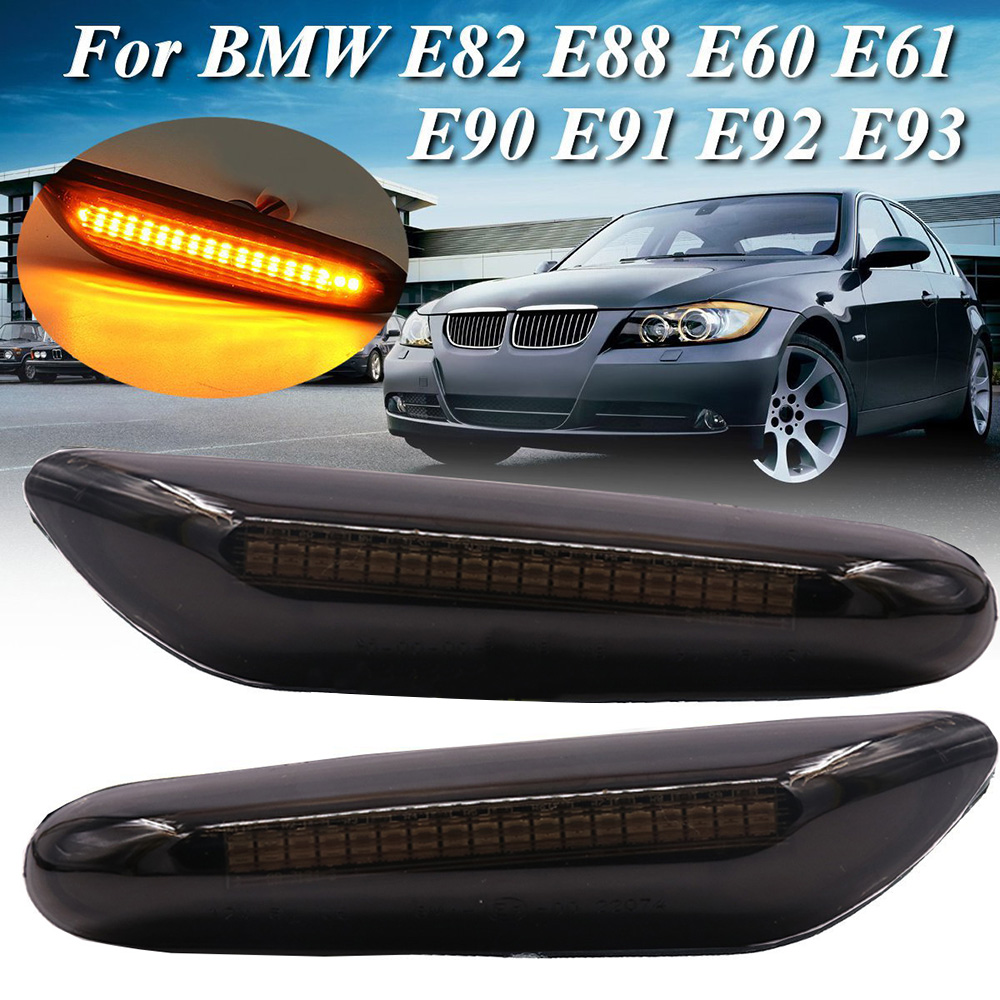 2pcs Car Dynamic LED Side Marker Indicator Turn Signal Light For BMW E90 E91 E92 E60 E87 Car Accessories Car Light Lamp