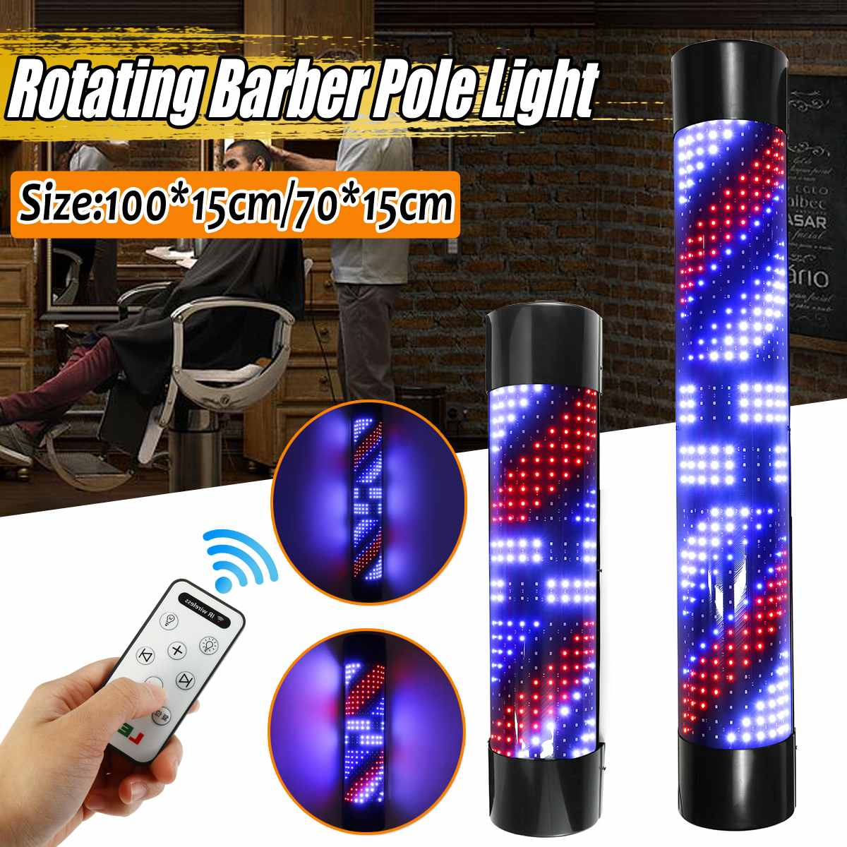 Barber Pole Led Light Hair Salon Light Rotating Light Lamp With Bulb/ RC Marker Lamp LED Downlights 220V EU / 110V US Plug