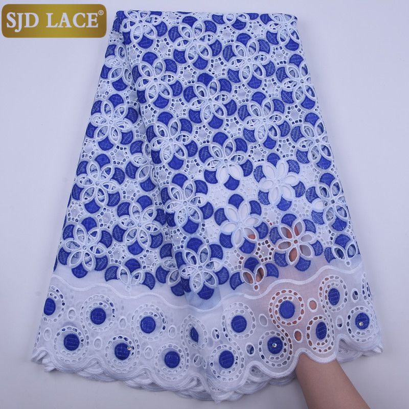 SJD LACE Latest African Lace Fabric High Quality Punch Cotton With Stones Swiss Voile Lace In Switzerland For Wedding Sew  A1843