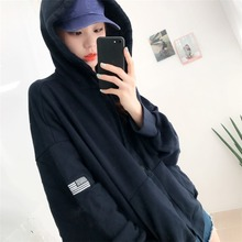 Women Simple Warm Long Sleeve Embroidered Plus Velvet Loose Hooded Sweater Coat