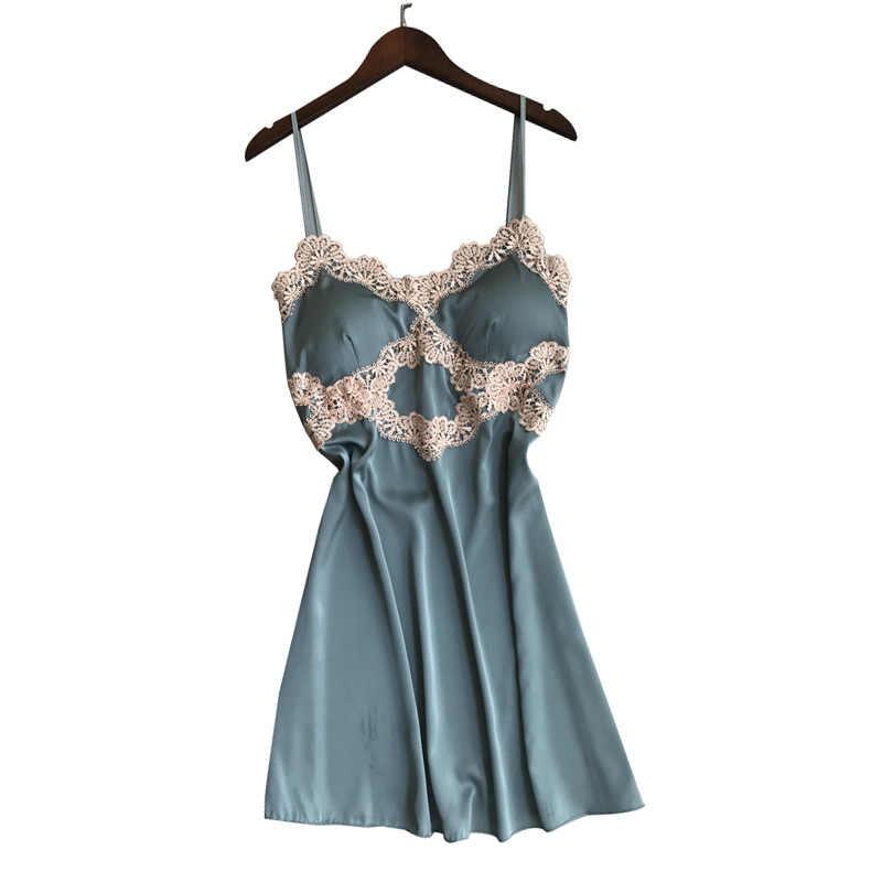 Satin Spitze Kimono Bad Kleid Hochzeit Party Geschenk Sexy Mini Blackless Dame Robe Spaghetti Strap Casual Blau Weichen Nachthemd XXL