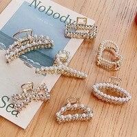 Nuove donne eleganti perle strass geometrici artigli per capelli indietro clip per capelli dolce decorare accessori per capelli moda fascia