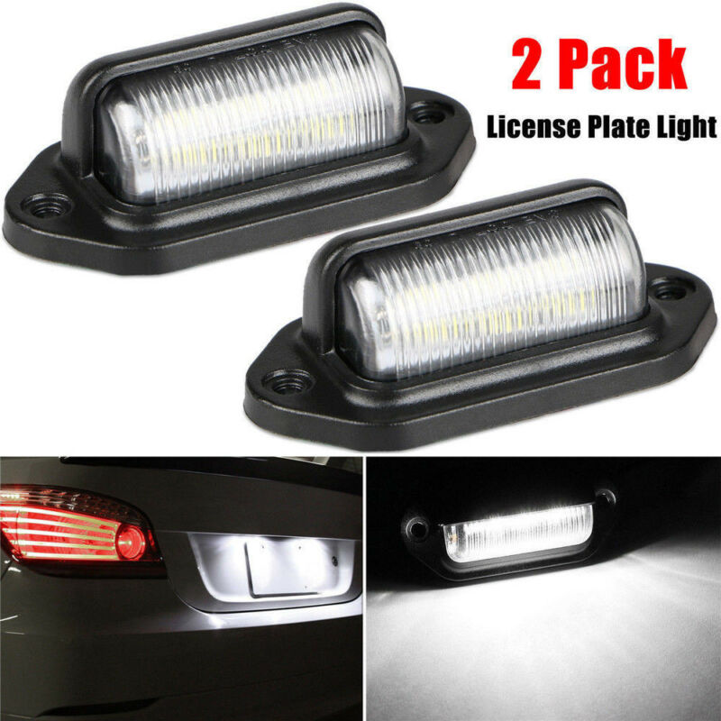 1 Pair Car 12V LED License Plate Light Step Lamp Waterproof IP65 6-LED Boat Truck Trailer White License Plate Lamp Accessories