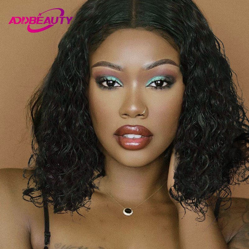 Addbeauty Short Bob Water Wave 13x6 Lace Front Wig For Black Women 150% Brazilian Human Virgin Natural Curly Hair Hairline