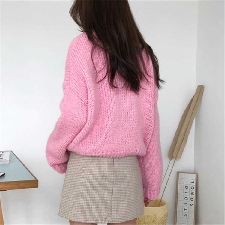 Colorfaith Nuovo 2019 Autunno delle Donne di Inverno Maglie e Maglioni Casual Minimalista Magliette e camicette Alla Moda Stile Coreano di Lavoro A Maglia Rosa Viola SW5073