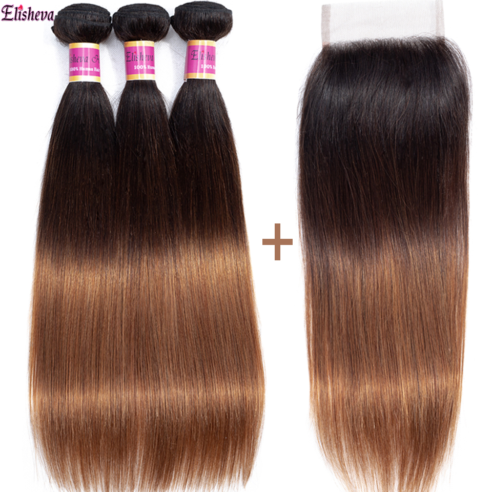 Elisheva Ombre Bundles With Closure Dyed T1B/4/30 Three Tone Peruvian Straight Hair Remy Colored Human Hair Bundles With Closure