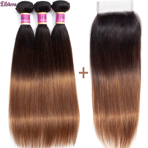 Elisheva Ombre Bundles with Closure Dyed T1B/4/30 Three Tone Peruvian Straight Hair Remy Colored Human Hair Bundles with Closure(China)