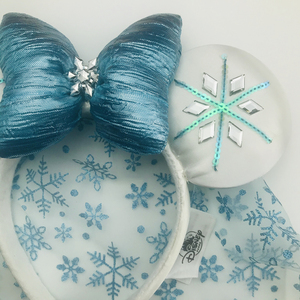Image 2 - New disney Alsa Ice Blue bow Mickey Minnie Ears  Headband Cosplay