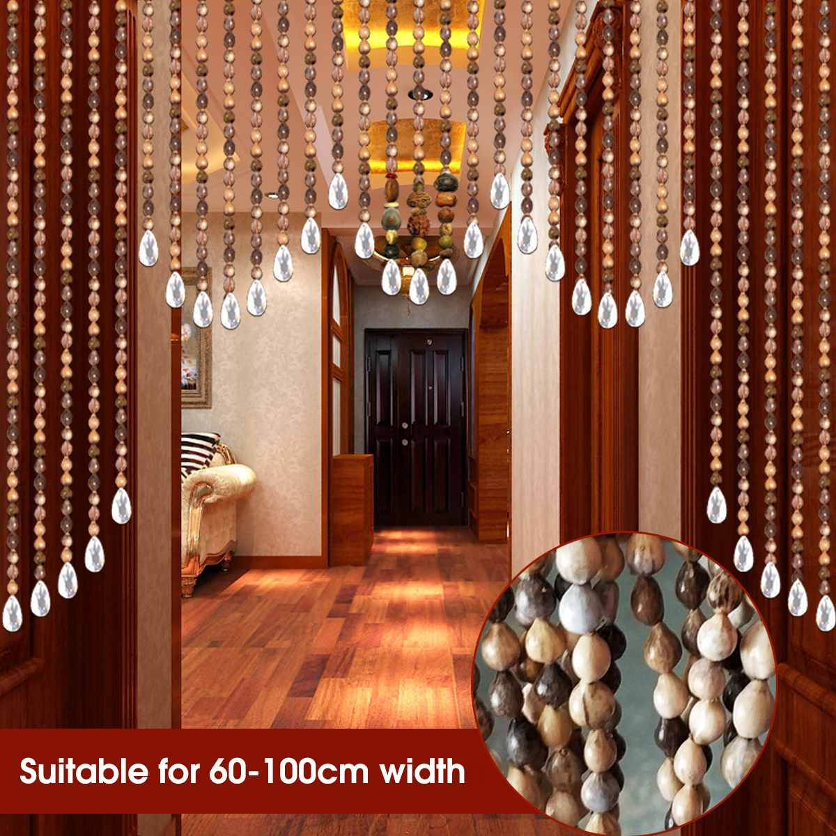 31 Lline Short Wooden Bead Curtains Fly Screen Handmade Wooden Beans Blinds For Home Porch Living Room Kitchen Entrance Decor