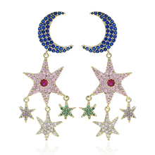 VERY GIRL Fashion Korean Star Moon Design Zircon Stone Drop Earring Jewelry  Sparkly Colorful Cubic Zirconia Dangle Earrings