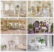 Arrière-plan de photographie de fleurs, lustre mural Chic de luxe, décor de chambre, canapé, cheminée, arrière-plan de photographie, accessoires