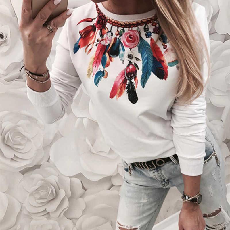 ฤดูใบไม้ร่วงแฟชั่นเซ็กซี่พิมพ์ดอกไม้แขนยาวสบายๆสไตล์ใหม่เซ็กซี่ฤดูหนาวผู้หญิงเสื้อ T 2019 เสื้อผ้าสตรี