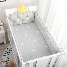 5Pcs Baby Bed Set Crown Cushion Newborn Cotton Protection Anti-Collision Cot Bumpers Crib Sheet Baby Room Decoration Kit Bedding
