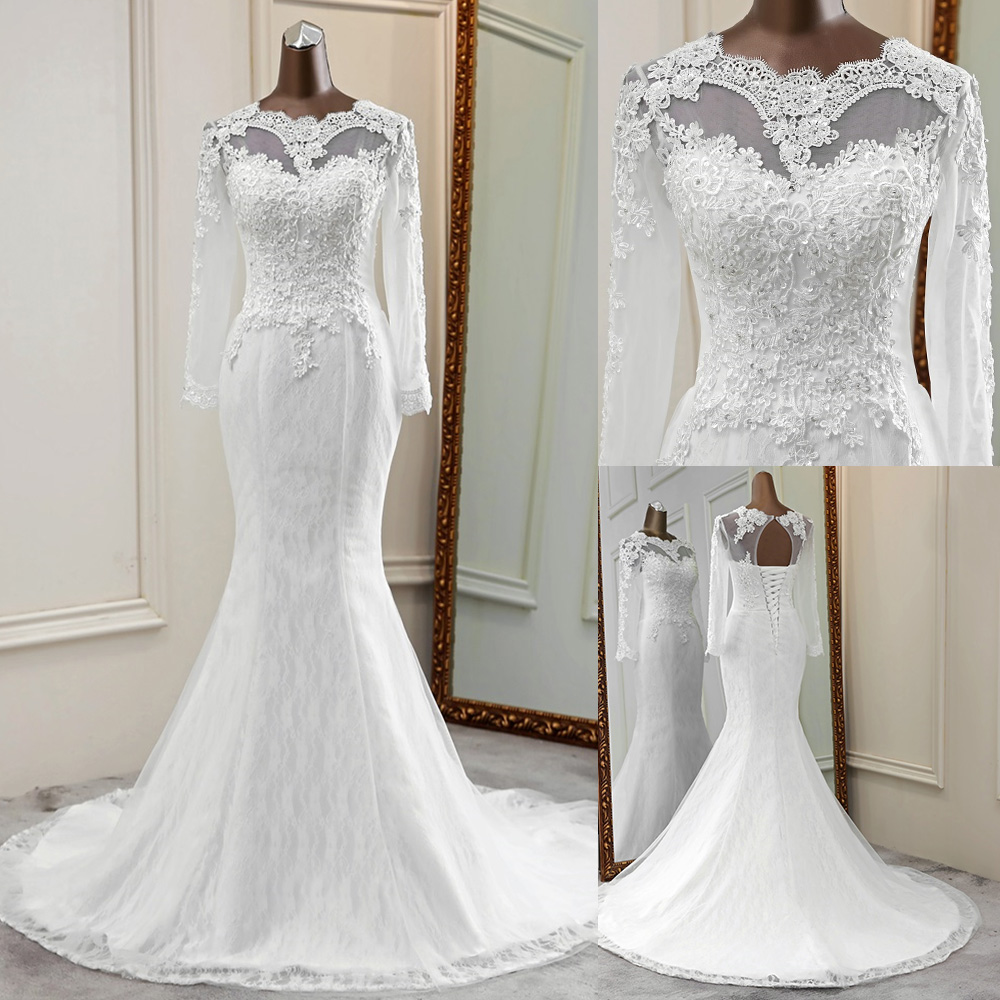 2020 New flower wedding dress long sleeves marriage vestido de noiva sereia elegant wedding gowns applique mermaid bride dress