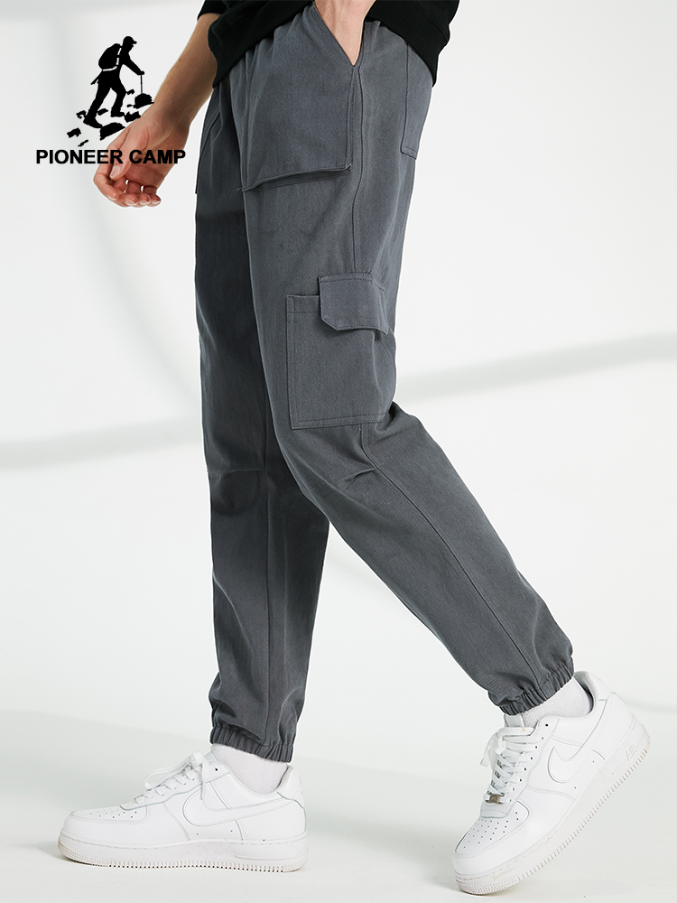 Pioneer Camp Casual Pants Men Loose Streetwear 100%cotton Black Gray Cargo Pants For Male AXX902322