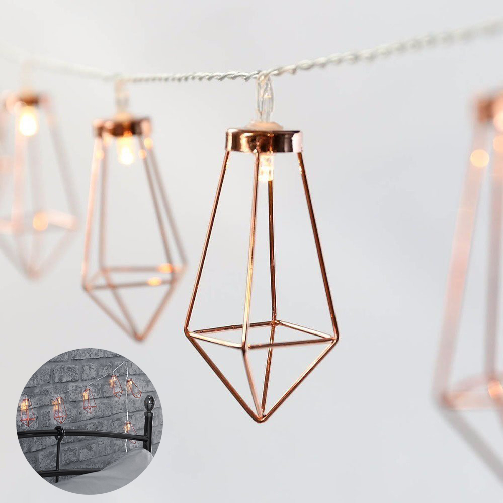 Christmas LED Fairy String Lamp Rose Gold Diamond Metal String Light Battery Operated Novelty Lights Festival Party Decoration
