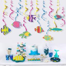 30pcs Under the Sea Party Decorations Hanging Tropical Fish Swirls Marine Pirate Theme Baby Shower Kids Birthday Party Supplies fish net ocean pirate pirate beach theme party wedding kids birthday baby shower gender reveal decoration background photo both