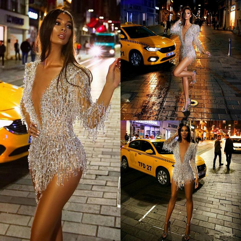 Long Sleeve 2020 Prom Dresses Sexy Short Deep V Neck Crystal Beads Cocktail Dress See Through Sexy Mini Evening GownsProm Dresses   -