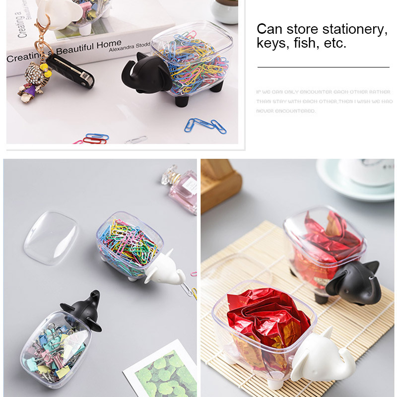 Storage Box Case Organizer Elephant Shape for Home Office Cotton Swab Toothpick QJY99