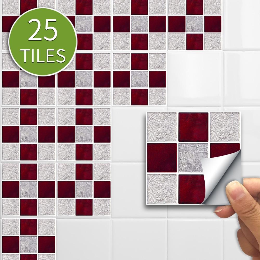 10cm/15cmx25pcs Red Gray Mosaic PVC Waterproof Self Adhesive Wall Sticker Tile Sticker For Kitchen Bathroom Furniture SJ003