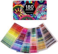 أقلام تلوين مائية 180 لونًا للرسم أقلام تلوين فنية للرسم والتظليل والتلوين