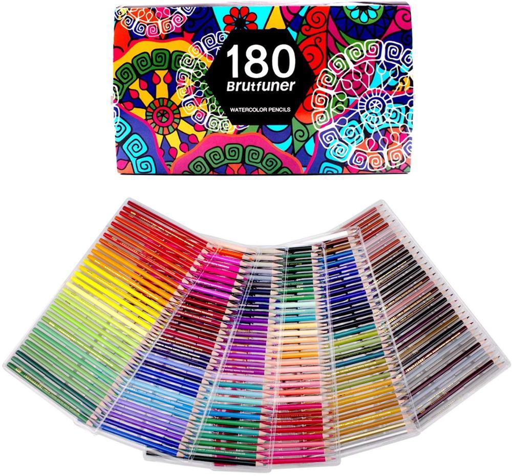 Lápices de acuarela de 180 colores para dibujar, colorear y dibujar