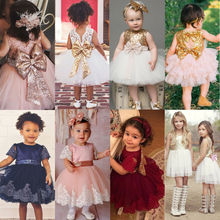 Baby Girls Kids Wedding Dress Flower Girl Dress Princess Party Pageant Formal Dress Back Bow Sleeveless Lace Tulle Dress 0-10Y недорого