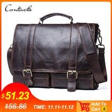 CONTACTS hommes porte documents en cuir véritable affaires sac à main ordinateur portable décontracté grand sac à bandoulière Vintage sacs de messager de luxe Bolsas