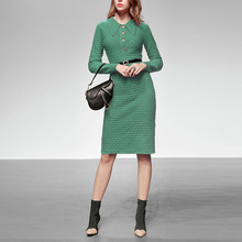 New Design Green Color Knitted Winter Dress Women Luxury Rich Lady Customized Clothes Office Lady Knee Length Pencil Dress(China)