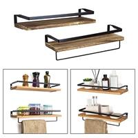 Holz Schwimm Regale Wand Montiert Bad Regal Rustikalen Lagerung Regale mit Abnehmbare Handtuch Halter für Küche Wohnzimmer