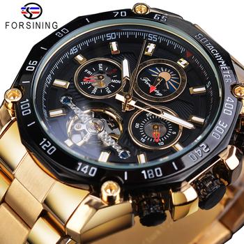 цена на Forsining Golden Automatic Men Watches Tourbillon Mechanical Self Winding Moonphase Calendar Male Steel Band Clock Reloj Hombre