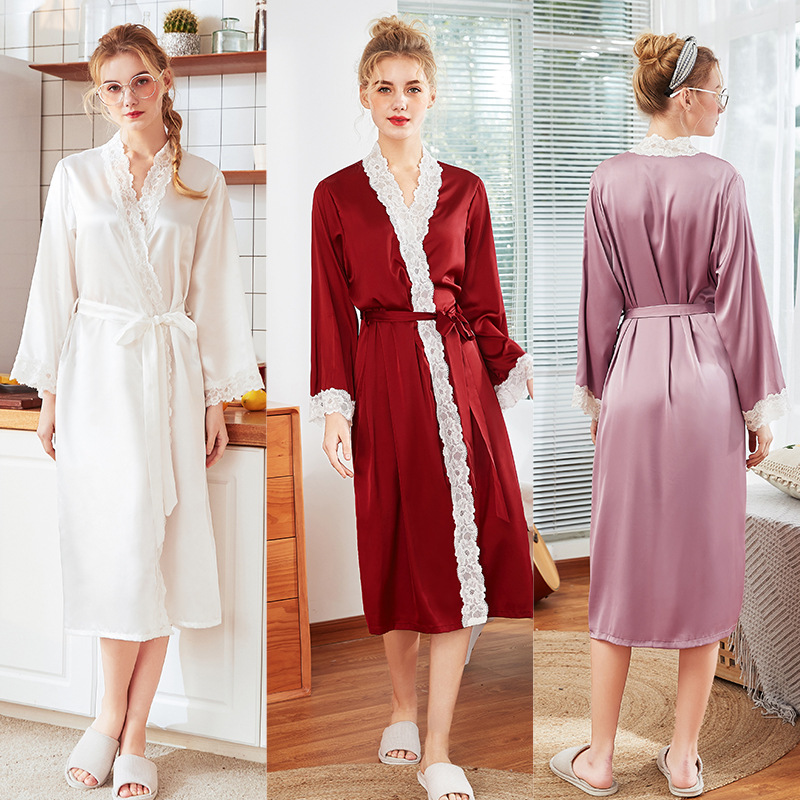 Yao Ting Version Silk Large Size Pajamas Women's Spring And Summer Morning Gowns Thin Long Sleeve Lace Robe Bathrobe 1012zt