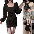 Новинка женские Гофрирование тонкое платье с пышными рукавами и юбка, чистый цвет, модная размера плюс платье для 2021 Новая мода DOD886