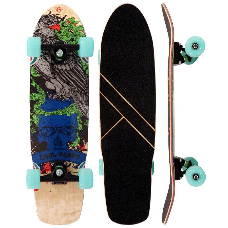 Children Adult Universal Single Rocker Four Wheel Skateboard Import Russia Maple Fish Skateboard Factory Customizable Processing