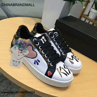 New Women White Shoes with Red Heart Shape Female Sneakers Lace Up White Shoes Girl Couple Leather Shoes
