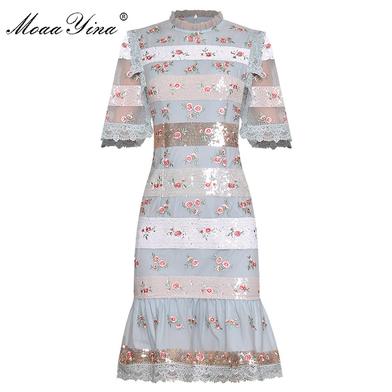MoaaYina Fashion Designer Runway Dress Spring Summer Women's Dress Short Sleeve Sequins Embroidery Package Buttocks Dresses
