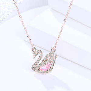 100% Настоящее серебро 925 пробы кулон ожерелье для женщин подарок на день рождения Лебедь украшен кристаллами от AAA CZ ювелирные изделия
