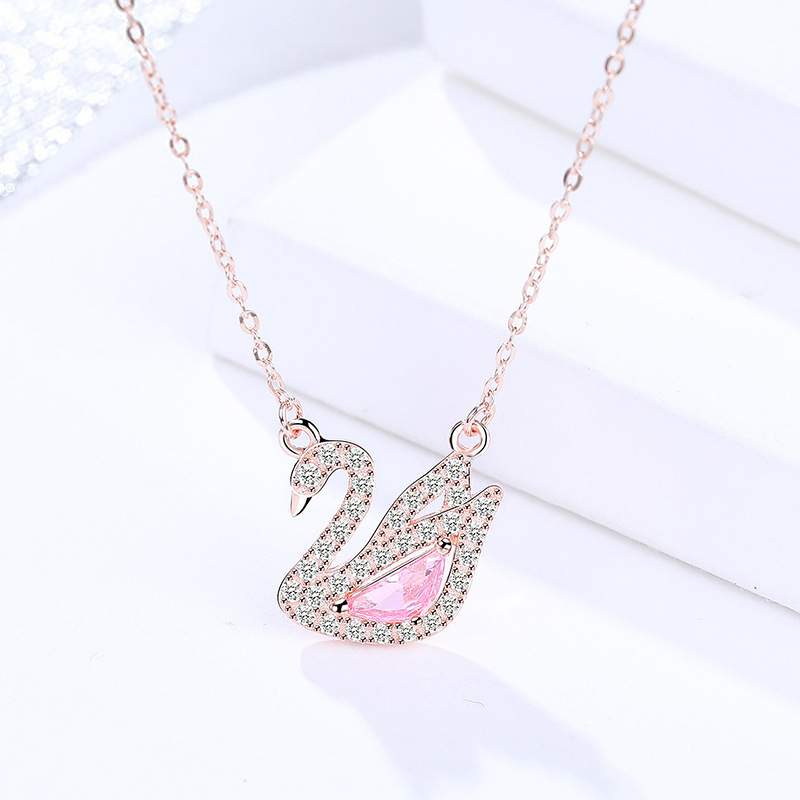 100% Real 925 Sterling Silver Pendant Necklace For Women Birthday Gift Swan Embellished With Crystals From AAA CZ Fine Jewelry