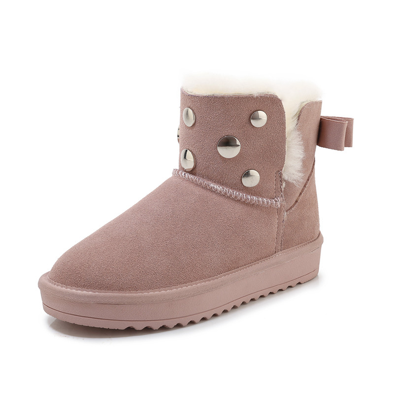 MORAZORA 2020 new hot sale snow boots comfortable flat heel round toe rivets winter shoes keep warm sweet pink ankle boots women 68
