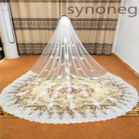 Real Photo Romantic 3m Wedding Veil Cathedral One Layer Lace Appliqued Long Bridal Veils With Comb Woman Marry Gifts