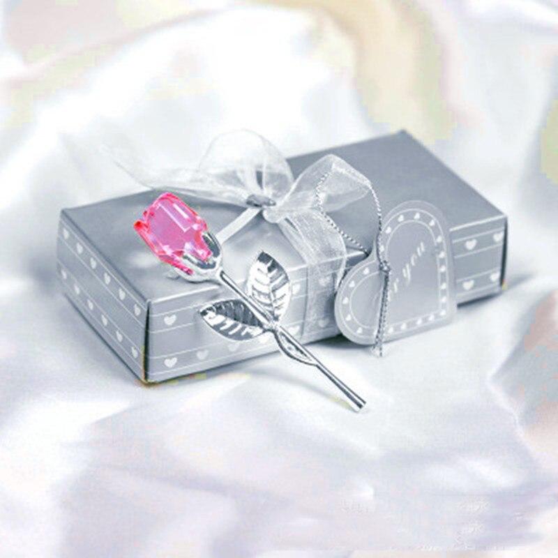 Мини Хрустальный цветок розы искусственный кристалл роза с металлическим стержнем цветок ветка год Свадьба Вечеринка Сувениры День Святого Валентина подарок - Цвет: pink silver