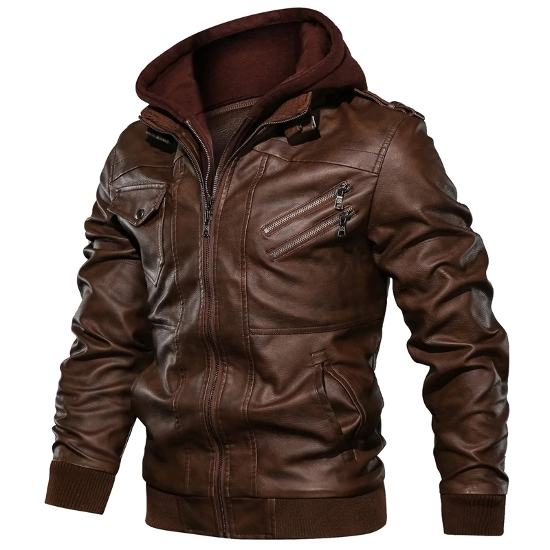 Hommes automne hiver moto en cuir veste coupe-vent à capuche PU vestes vêtements pour hommes chaud Baseball vestes grande taille 3XL - 3