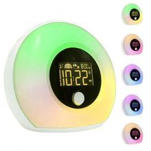Wireless LED Electronic Alarm Clock Simulated Sunrise And Sunset Nature Wake-Up Sleep Music Colorful Night Light